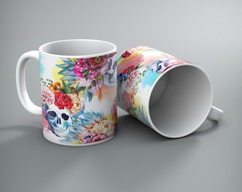 Set of 2 - Bright Floral Skull Mugs - Customizable, personalized, or add a Monogram at NO Charge!