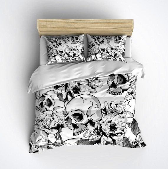 Fleece Skull Bedding Black & White Skull Duvet with by