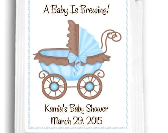 20 Brown and Blue Baby Tea Favors