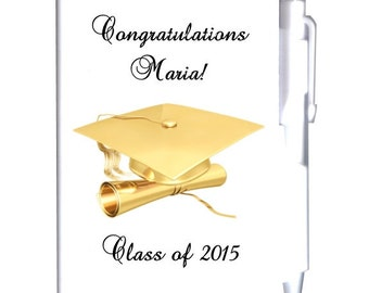 24 Personalized Gold Graduation Notebook Favors
