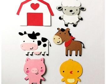 Set of 6 Farm Animal Die Cuts / Paper Farm Die Cuts Barnyard Animal Die Cut Barnyard Die Cuts Barn Die Cut Cow Die Cut Horse Scrapbooking