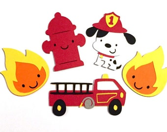 Set of 6 Firefighter Die Cuts /Paper Die Cut Fireman Die Cuts Firetruck Die Cut Dalmatian Die Cut Fire Die Cut Boy Die Cut Fireman Scrapbook