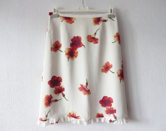 Ivory Off White Floral Summer Skirt Ruffled Bright Red Flowers Chiffon Knee Length Summer Skirt Size Medium to Large