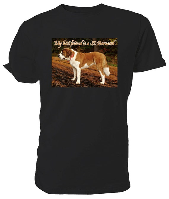 St Bernard Dog T shirt. classic round neck short sleeved choice of sizes and colours