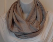FIP19 20: Fabric Infinity Scarf (Taupe Stripes) FREE SHIPPING
