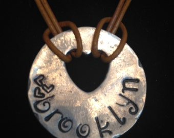 Hand Stamped Pewter and Leather Necklace - Custom