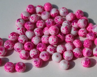 65 glass beads, 6 mm speckled hot pink and white, round and smooth, bubblegum style beads, baking painted, hole 1.3-1.6 mm