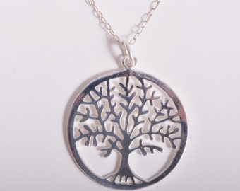 Sterling Silver tree of life pendant necklace 925 sterling silver chain UK