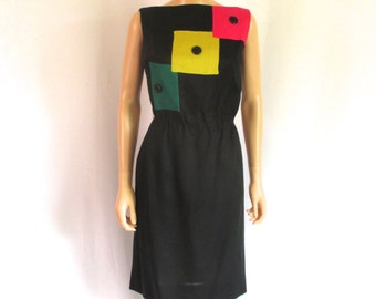 "Deadstock 1960s Boatneck Black Linen Shift Dress ""Genevieve"""