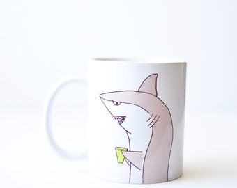 Shark mug - birthday gift - handmade 11oz white shark week coffee cup hand painted gray green xmas stocking stuffer