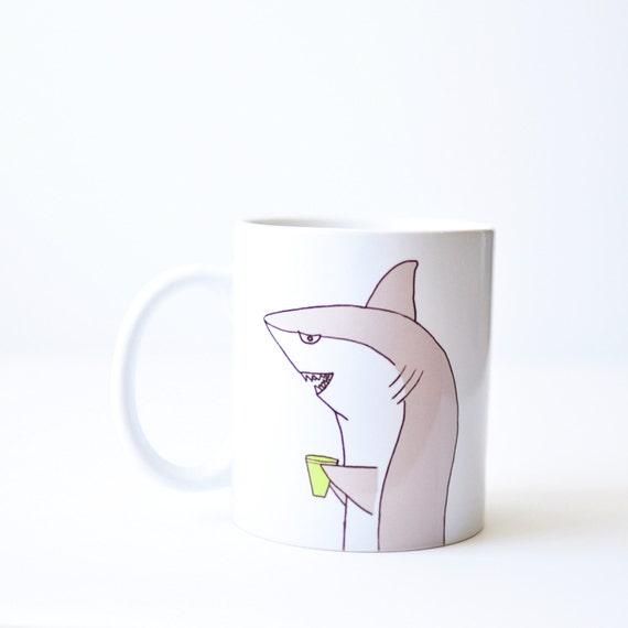 Shark mug - valentines day birthday gift - handmade 11oz white shark week coffee cup hand painted gray green xmas stocking stuffer