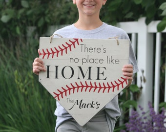 "Personalized Painted Sign, ""There's no place like home"" home plate"