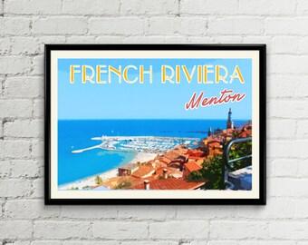 Cote d'Azur print. French riviera poster print. France travel poster. Menton illustration. Wall art print. Menton poster.