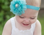 Flower Headband, Flower Clip, Vintage Baby Headband, Turquoise, Pearl, Vintage Inspired Clip, Photo Prop, Newborn Headband, Girls Headband