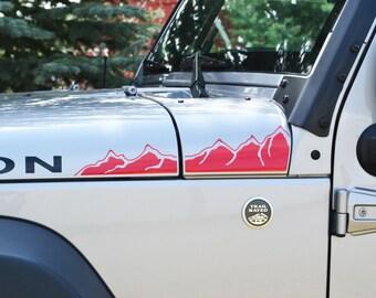 Jeep Wrangler JK Extended Hood Mountains V3 Decal 4pc Set