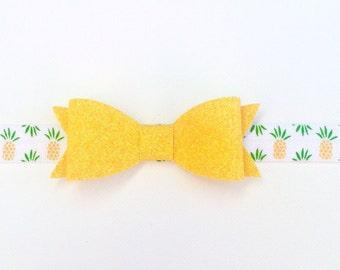 Yellow Pineapple Headband | Pineapple Baby | Summer Baby Headband | Pineapple Baby Headband | Summer Bow | Yellow Glitter Baby Headband