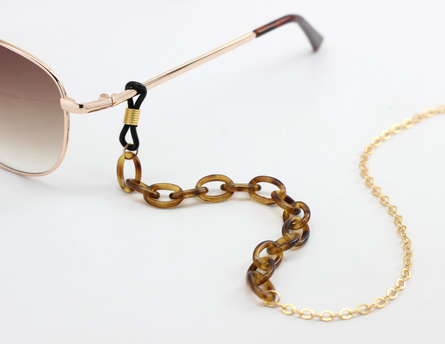 tortoise shell eyewear chain with gold gold glasses