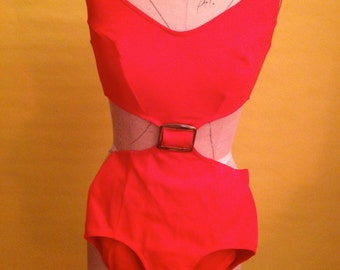 60's Vintage Red One Piece Bathing Suit