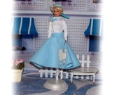 1950'S Soda Fountain. Barbie Inspired Clothes. Blue Sock Hop Poodle Skirt Outfit. Skirt, Shirt, 1 Pair of Bobby Socks. Fits all size Barbies
