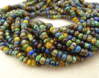 6/0 Caribbean Blue Picasso Mix Glass Seed Bead  20 Inch Strand