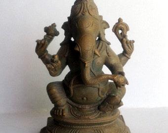 Lost Wax Method Bronze depicting Lord Ganesh sitting.