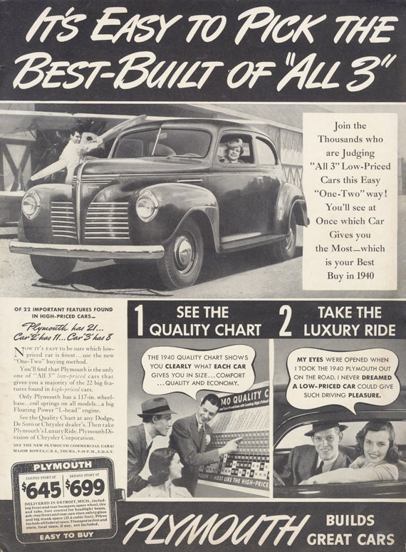 1940 Plymouth Car Ad Vintage Advertising Black Amp White Auto