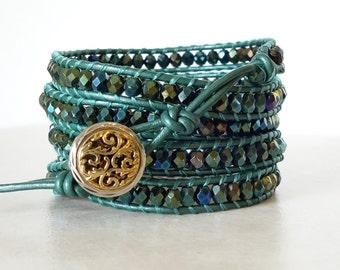 Bohemian green iris wrap/ Boho Czech glass 5/five wrapped ladder bracelet/ green leather gypsy beaded bracelet Christmas