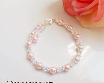 FREE US Ship Choose Your Colors Swarovski Pearl And Crystal Flower Girl Bracelet Custom Pearl And Crystal Bracelet  Flower Girl Gift