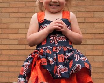 Handmade Peekaboo Dress Detroit Tigers Inspired sizes newborn - girls 8