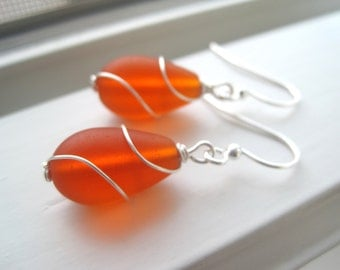 Orange Earrings - Wire Wrapped Earrings - Cultured Sea Glass Jewelry - Wire Wrapped Jewelry - Orange Earrings - Orange Jewelry