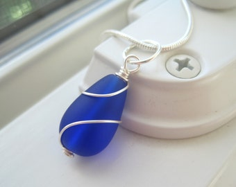 Royal Blue Bridesmaid Jewelry - Cobalt Blue Sea Glass Necklace and Earrings - Sea Glass Jewelry - Bridesmaid Gift Set - Pendant Necklace