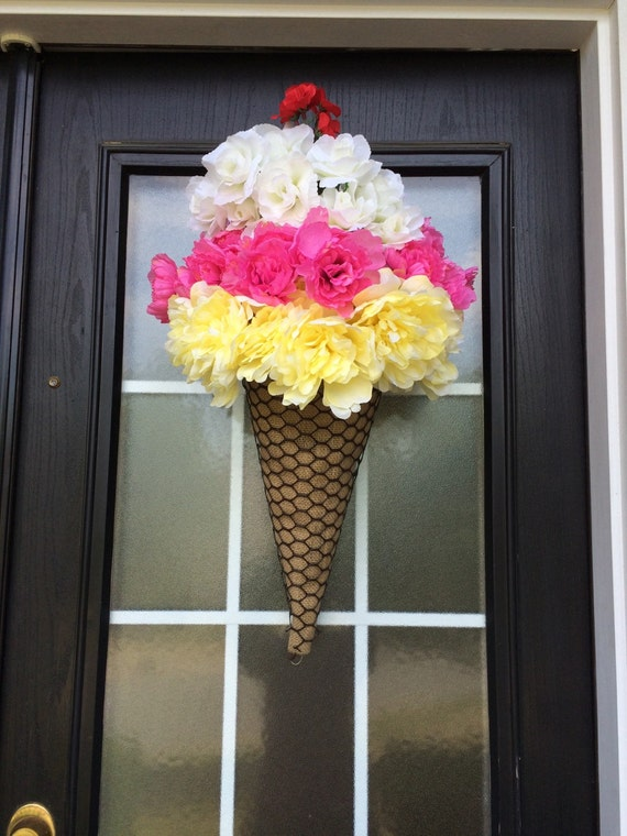 Ice Cream Cone Wreath Summer Wreath Ice Cream Door By