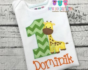 1st Birthday Safari Shirt - Giraffe Birthday Shirt - Baby Boy Giraffe Birthday Outfit - Safari Birthday shirt - First birthday shirt boys