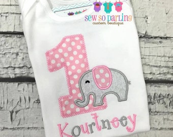 Baby Girl 1st Birthday Outfit - 1st Birthday Elephant Birthday Shirt - Elephant Birthday Outfit