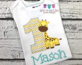 1st Birthday Giraffe Shirt - Giraffe Birthday Shirt - Baby Boy Giraffe Birthday Outfit - Boy Birthday shirt