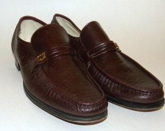 1970s 70s shoes / Men's Vintage shoes / Loafers / Florsheim / Imperial / Burgundy / Maroon / Leather  / Men's  shoes / USA size 10.5C