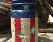 Vintage Mason Jar Candle Lanterns | Stars & Stripes | Red, White and Blue | Patriotic | USA