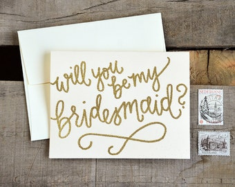 Will You Be My Bridesmaid Cards. Glitter Bridesmaid Proposal, Handwritten Bridal Party Cards - Bridesmaid Gift, Maid of Honor, Etc