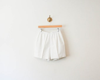 vintage 60s white high rise tenny cotton shorts