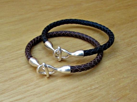 2x Couples Bracelets, Matching Bracelets, Leather Cuff, Braided leather, His Her Bracelet, Best Friend bracelet Customized On Your Wrists
