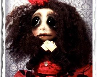 Gothic Art Doll OOAK, Creepy Cute Doll