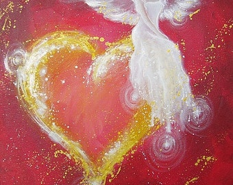 """Limited angel art photo """"angel heart"""" , modern angel painting, artwork,ideal also for picture frame, gift,spiritual,magic,mystic"""