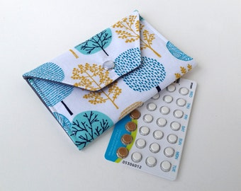 Pill Wallet - Birth Control Pill Wallet / ID Snap Wallet - Birth Control Case - White, blue and gold tree print