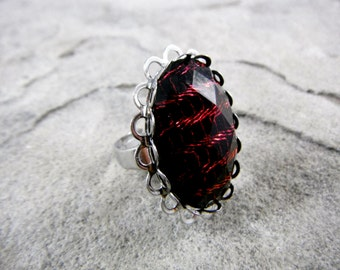 Big Red Ring, Red Statement Ring, Red Cabochon Ring, Red Ring, Gothic Chunky Ring, Statement Jewelry, Large Red Ring