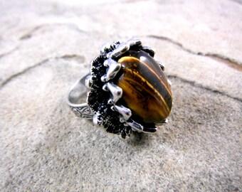 Tigers Eye Ring, Tigers Eye Cabochon Ring, Stone Ring, Gemstone Ring, Brown Ring, Adjustable Ring, Tigers Eye Jewelry