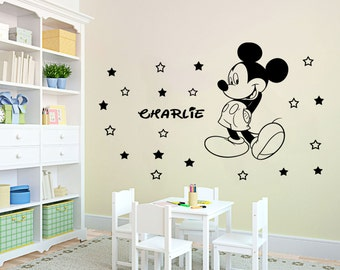 Personalized Name Disney Mickey Mouse Wall Art Stickers Mural with 20 stars Nursery Decal D4