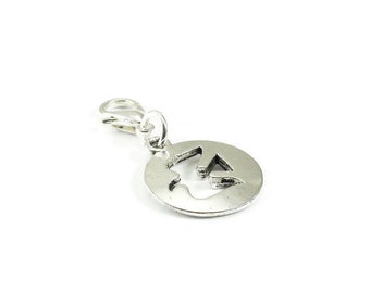 Dove Zipper Pull Purse Charm Silver Clip On Charms