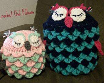 Owl Pillow Crochet Pattern, Owl Pillow, Owl Pillow Pattern, Owl Crochet Pattern, Owl Throw Pillow, Decorative Crochet Pillow, Bird Pillow
