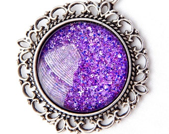 Purple Glitter Nail Polish Pendant; Silver Circle Necklace; 25mm Round Glass Pendant; Purple Necklace; Hand Painted Glass Dome Jewelry