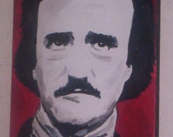EDGAR ALLAN POE 16x12ins, hand painted on stretched canvas ,,ready to hang ..affordable art